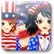 美国独立日旗装少女