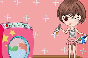 可爱女孩洗衣服